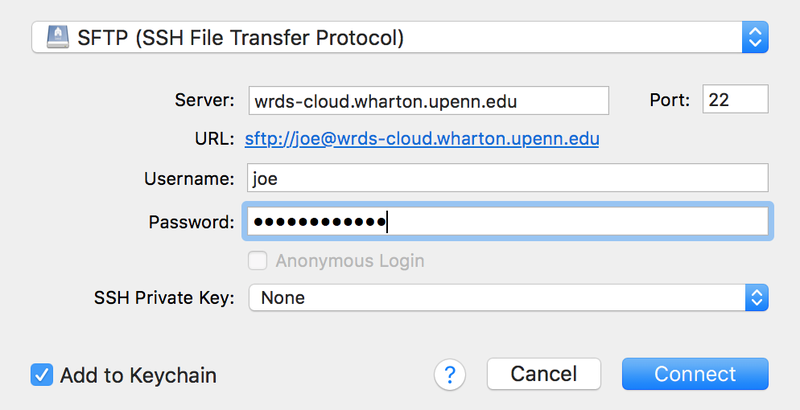 Access WRDS Remotely via SFTP (Secure FTP)